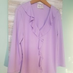 Lilac Kathie Lee Collection Spring Ruffle Blouse